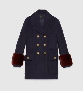 abrigo lana y piel gucci